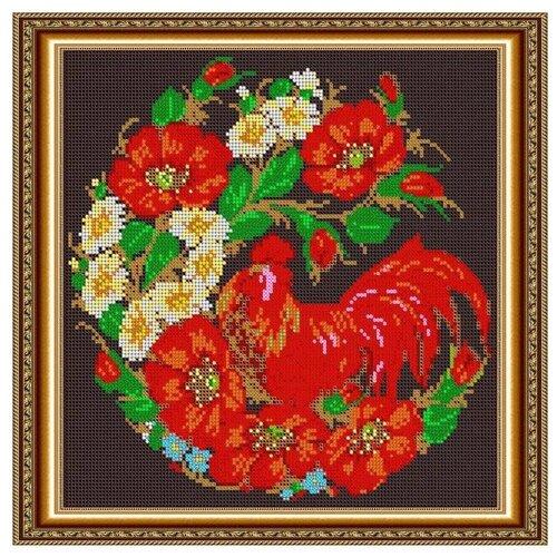 Светлица Набор для вышивания бисером Петушок. Жостовская роспись 27 х 27 см, бисер Чехия (529П)