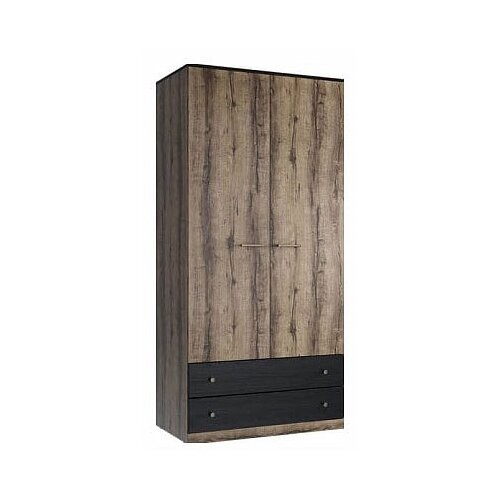 Шкаф для спальни Anrex Jagger 2DG2S, (ШхГхВ): 100.2х58.1х210 см, дуб монастырский/черный панель с полками для шкафа анрекс jagger 2dg2s