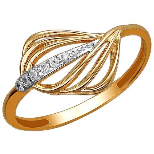 Эстет Кольцо с 7 фианитами из красного золота 01К1112092Р, размер 18 ЭСТЕТ