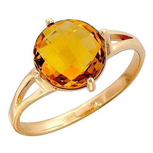 Эстет Кольцо с 1 кварцем из красного золота 01К316270-5, размер 18 фото