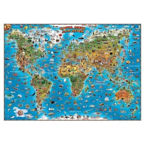 Купить Настенная карта мира для детей, Геоцентр, Учебные пособия