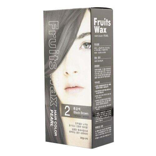 Купить Welcos стойкая крем-краска для волос Fruits Wax Pearl Hair Color, 2 Black Brown