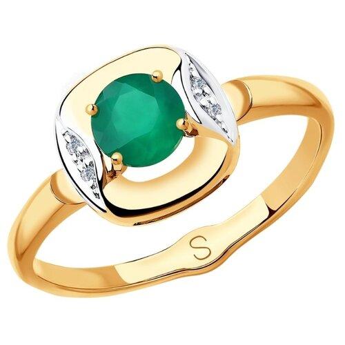 SOKOLOV Кольцо с агатом и бриллиантами из красного золота 6013055, размер 16.5