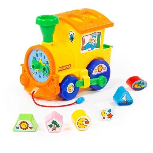 Каталка-игрушка Полесье Занимательный Паровоз (6189) желтый каталка игрушка полесье биосфера котёнок 54456