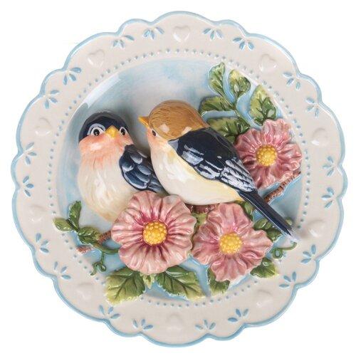 Тарелка декоративная настенная Lefard Птицы на яблоневой ветке 59-059, 20 см белый/голубой тарелка lefard 23 см белый