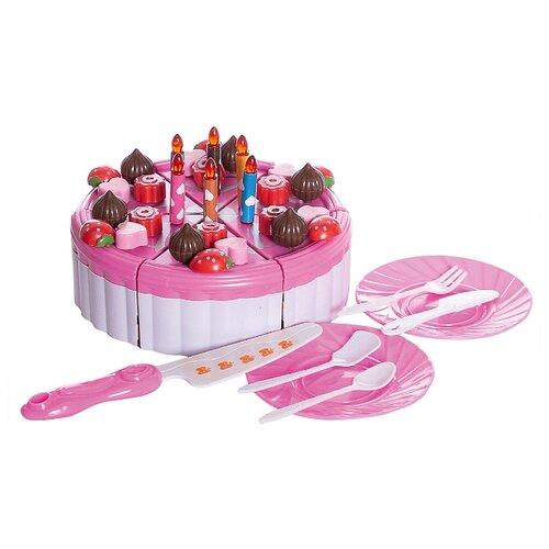 Купить Набор продуктов с посудой Junfa toys Торт фруктовый WK-C6244 разноцветный, Игрушечная еда и посуда