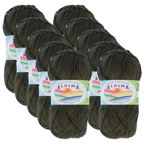 Пряжа Alpina Xenia, 100 % хлопок, 50 г, 240 м, 10 шт., №514 т.оливковый пряжа alpina katrin 100 % хлопок 50 г 140 м 10 шт 155 желтый синий белый салатовый