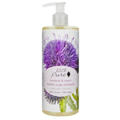 100% Pure шампунь Burdock & Neem Healthy Scalp для оздоровления кожи головы 390 мл с дозатором