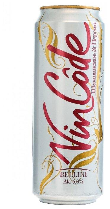 Коктейль винный слабоалкогольный Vincode Bellini Шампанское & Персик 0.45 л