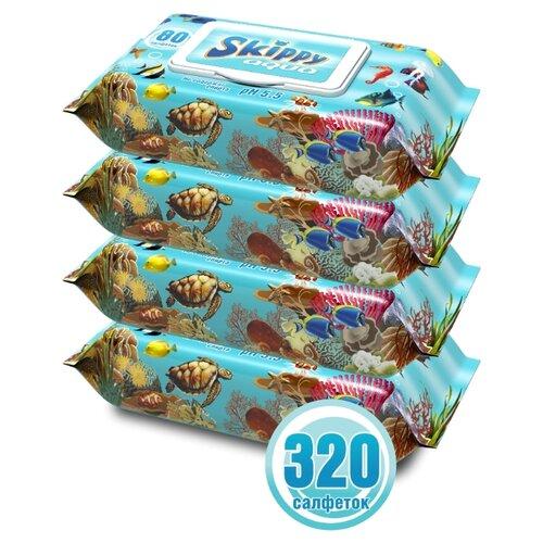 Влажные салфетки Skippy Aqua пластиковая крышка 320 шт..