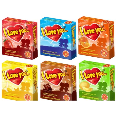 Купить Презервативы I Love You с ароматом клубники+с ароматом апельсина+с ароматом дыни+с ароматом шоколада+с ароматом банана+классические (6 уп. по 3 шт.)