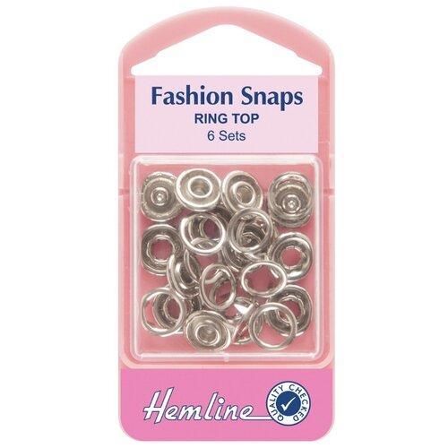 Hemline Кнопки для одежды кольцевые 445, серебристый, 11 мм, 6 шт.