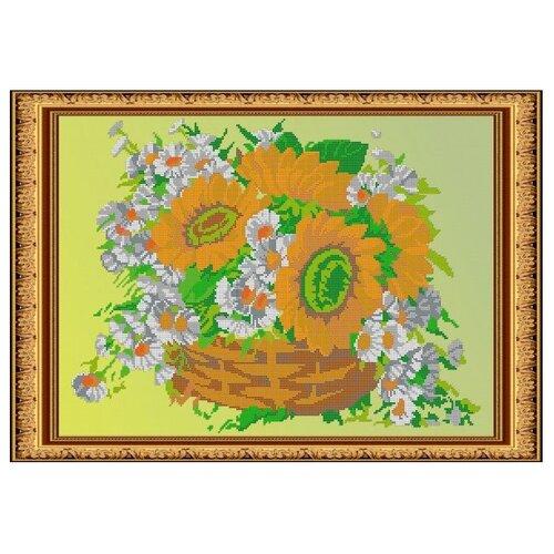 Светлица Набор для вышивания бисером Цветы в корзине 49 х 34,6 см, бисер Чехия (133)