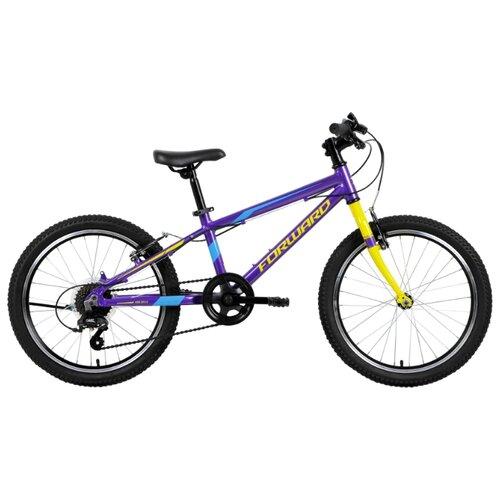 Подростковый горный (MTB) велосипед FORWARD Rise 20 2.0 (2019) фиолетовый/желтый 10.5 (требует финальной сборки) двухколесные велосипеды forward rise 20 2 0 10 5 2019
