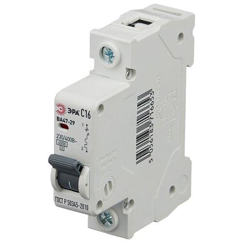 Автоматический выключатель ЭРА ВА 47-29 1P (C) 4,5kA 16 А автоматический выключатель эра ва 47 29 1p c 4 5ka 16 а