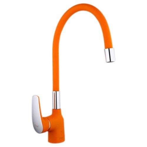 Смеситель для кухни (мойки) Frap F4453 однорычажный оранжевый/хром смеситель для кухни frap f4224 хром