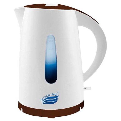 Чайник Великие реки Томь-1, белый/коричневый чайник электрический великие реки дон 1 1850вт белый