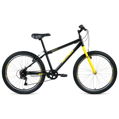"""Подростковый горный (MTB) велосипед ALTAIR MTB HT 24 1.0 (2020) черный/желтый 14"""" (требует финальной сборки)"""