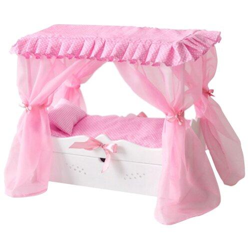PAREMO Кровать для кукол с выдвижным ящиком с постельным бельем и балдахином (PFD120-61) белый кровать с выдвижным ящиком paremo кровать с выдвижным ящиком