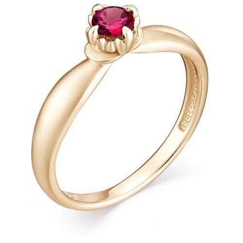 АЛЬКОР Кольцо с 1 рубином из красного золота 12949-103, размер 16.5