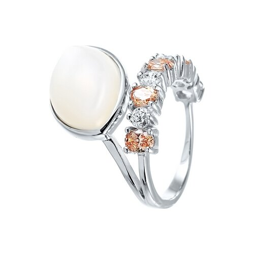 JV Кольцо с перламутром и фианитами из серебра ZR6919-KO-SH-001-WG, размер 16 jv кольцо с фианитами из серебра r27208 ko 001 wg размер 16