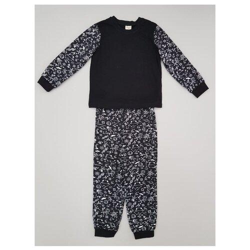 Пижама ЁМАЁ размер 122, черный/набивка