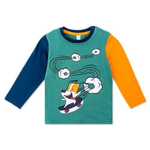 Купить Лонгслив playToday размер 74, темно-синий/темно-зеленый/желтый, Футболки и рубашки