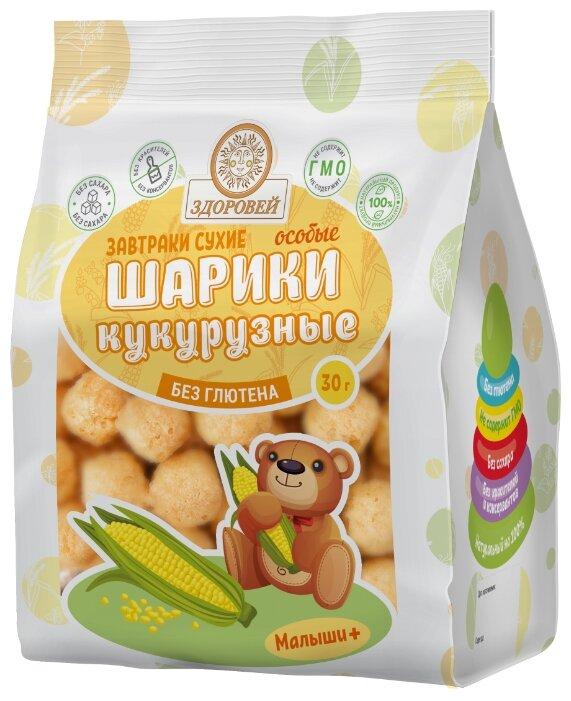 Готовый завтрак Здоровей Особые шарики кукурузные без сахара, пакет