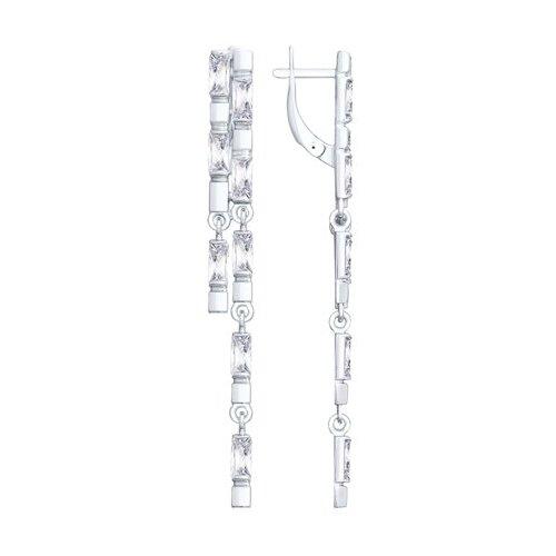 серебряные длинные серьги с узорами SOKOLOV Длинные серебряные серьги с фианитами 94023048