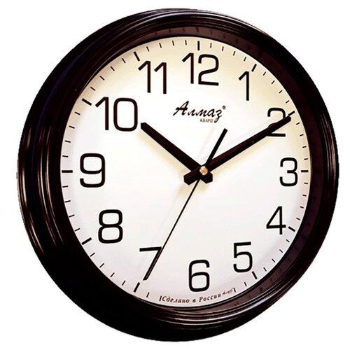 Часы настенные кварцевые Алмаз A19 черный/белый часы настенные кварцевые алмаз h01 белый черный
