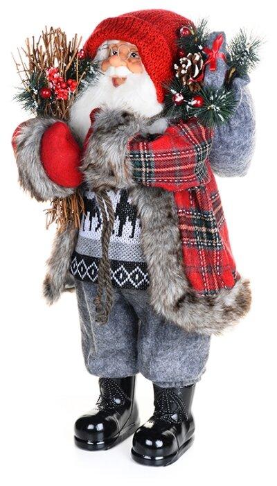 Фигурка Maxitoys Дед Мороз в клетчатой шубе с хворостом 61 см