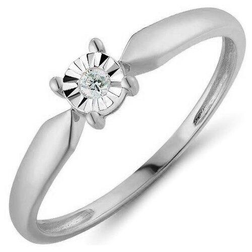 ЛУКАС Кольцо с 1 бриллиантом из белого золота R01-D-R300053DIA, размер 17 кольцо из золота r01 d r306443sap