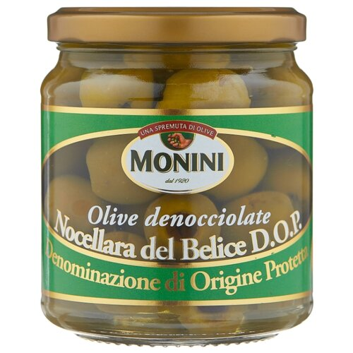 Monini Оливки в рассоле без косточки, стеклянная банка 280 г