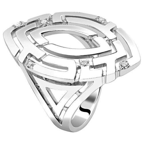 Эстет Кольцо с 6 кристаллами swarovski из серебра 01К1511613, размер 16 ЭСТЕТ