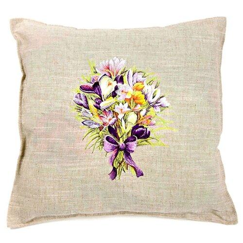 Чехол для подушки Pastel Букет фиалок 45х45 см (1315715) бежевый чехол для подушки violet листья жаккард 45х45 см p02 5003 1