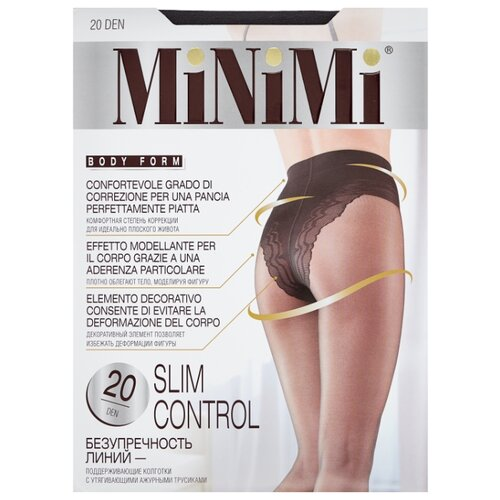 Колготки MiNiMi Slim Control 20 den, размер 1/2-S, fumo (серый) колготки minimi lanacotone 180 den размер 2 s m fumo серый