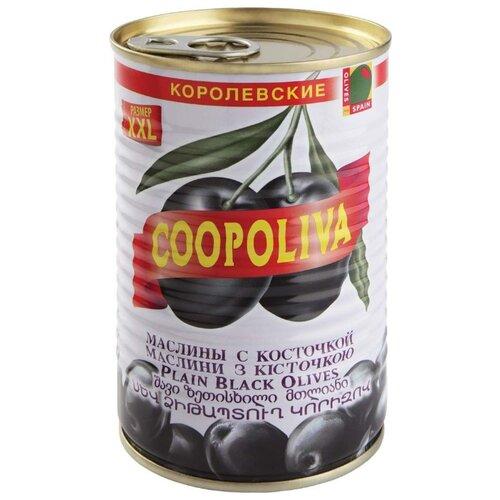 Coopoliva Маслины королевские с косточкой в рассоле, жестяная банка 405 г iberica маслины мини с косточкой в рассоле жестяная банка 300 г