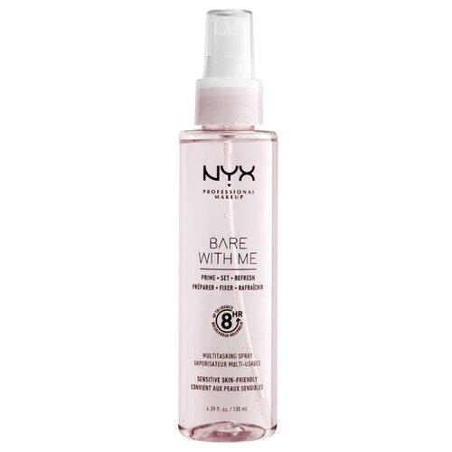 Купить NYX professional makeup Мультифункциональный спрей для фиксации макияжа 3 в 1 Bare With Me Prime. Set. Refresh. Multitasking Spray 130 мл розовый