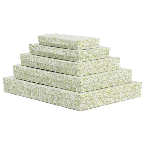 Набор подарочных коробок Мишель Фокс Кружевная листва №13, 5 шт. белый