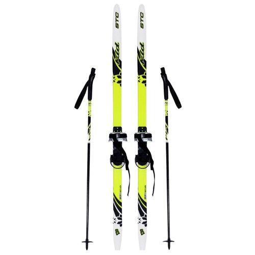 цена на Беговые лыжи STC Step Kid Combi черный/белый/желтый 100 см