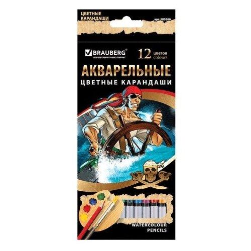 Купить BRAUBERG Карандаши цветные акварельные Корсары, 12 цветов (180566), Цветные карандаши
