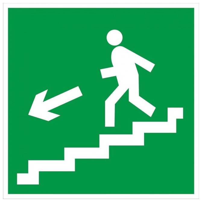 Наклейка Фолиант Направление к эвакуационному выходу по лестнице налево вниз Е14