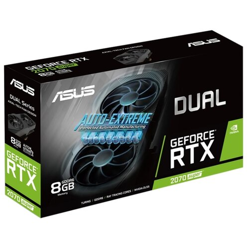 Видеокарта ASUS DUAL GeForce RTX 2070 SUPER 1605MHz PCI-E 3.0 8192MB 14000MHz 256 bit 3xDisplayPort HDMI HDCP EVO Retail видеокарта asus nvidia geforce rtx 2080 super turbo evo pci e 8192mb gddr6 256 bit retail turbo rtx2080s 8g evo