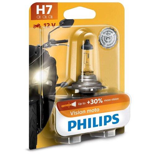 цена на Лампа автомобильная галогенная Philips Vision Moto +30% 12972PRBW H7 12V 55W 1 шт.