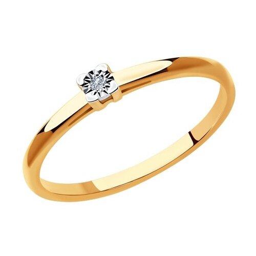 SOKOLOV Кольцо из комбинированного золота с бриллиантом 1011931, размер 15