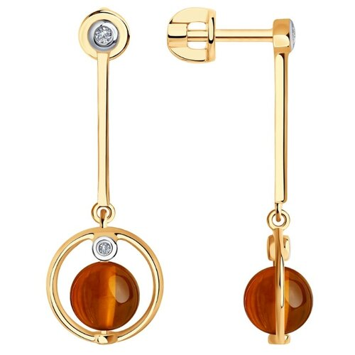 SOKOLOV Серьги из золота с родированием с бриллиантами и янтарём 6023054
