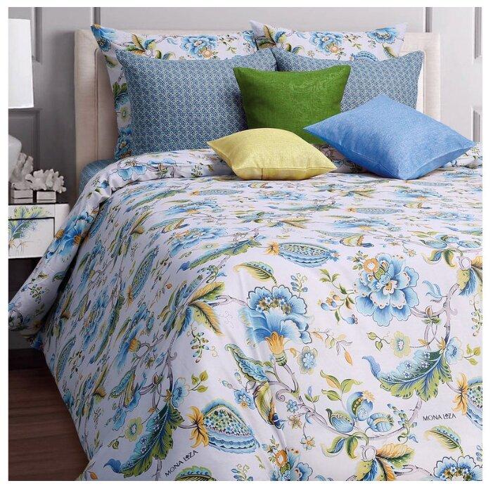 Постельное белье 2-спальное Mona Liza Nensy 70х70 см, бязь белый/голубой
