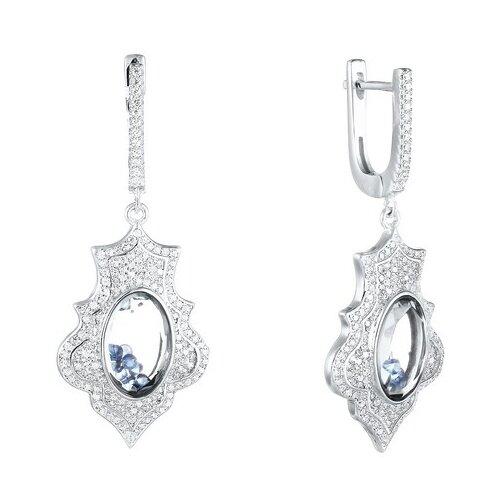 JV Серебряные серьги с фианитом, ювелирным стеклом A8009-SR-CRYST-001-WG