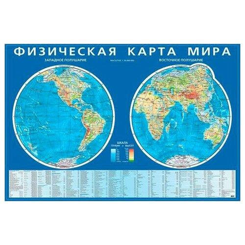 Купить Физическая карта мира. Карта полушарий на картоне, РУЗ Ко, Учебные пособия