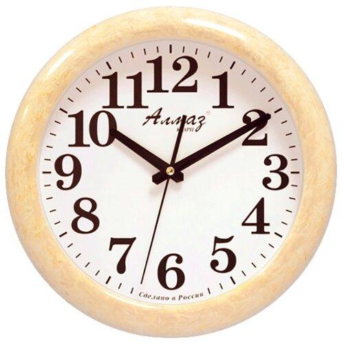 Часы настенные кварцевые Алмаз H13-H19 светло-бежевый/белый часы настенные кварцевые алмаз h32 h35 светло бежевый белый